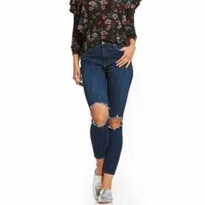 Free People Mid-Rise Busted Knee Skinny Jeans